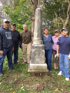 More volunteers pose next to the final resting place of Malvern's first mayor, the Rev. George Hardesty. Pictured (left to right) are Matt Chiurco, Frank Chiurco, Doug Angeloni, Charm Woods, Lynn Edwards, and Jason Lombardi.