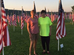 Charm Woods (left) and Sonia Strock at the Field of Honor.