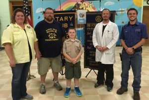 Attending the Malvern Rotary meeting to share the details of the name stone project from the Malvern Historical Society and Malvern Cub Scout Pack 155 are (left to right): Brandy Thompson (cub master), Ben Thompson (assistant cub master), Cameron Eckard (cub scout), Jason Lombardi (president of Malvern Historical Society), and Tyler Moody (chairman of the name stone project).